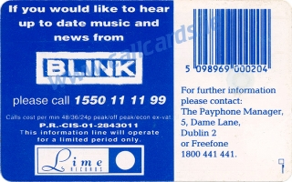 Blink Music Callcard (back)