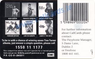 Tina Turner Callcard (back)