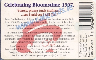 Bloomsday Callcard (back)