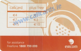 Eircom Callcard €15 (back)
